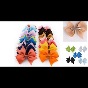 Brand New 10 pack Girls Clip On Ribbon Bows